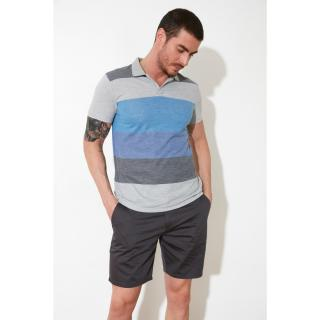 Trendyol Gray Mens Polo Neck T-shirt pánské Grey S