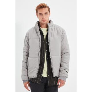 Trendyol Gray Mens Puffer Stand Collar Zippered Coat pánské Other S
