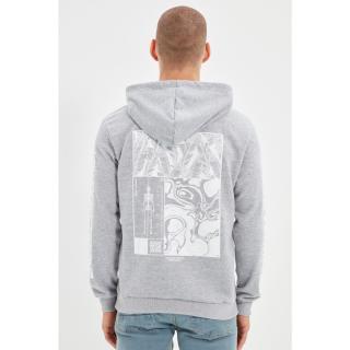 Trendyol Gray Mens Regular Fit Hoodie Sweatshirt pánské Other L