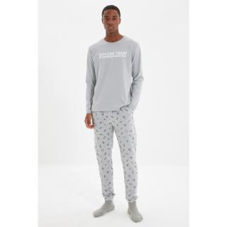 Trendyol Gray Mens Regular Fit Slogan Printed Pajamas Set pánské Other S