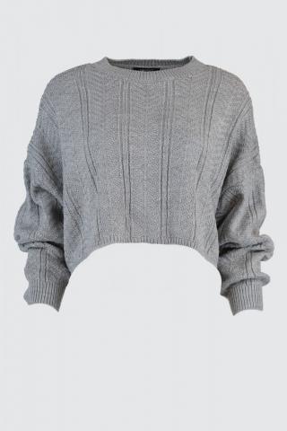 Trendyol Gray Mesh Detailed Crop Knitwear Sweater dámské Grey M
