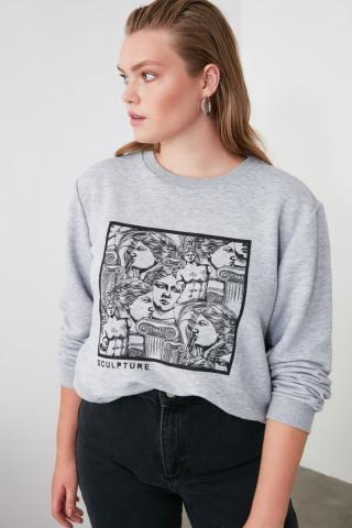 Trendyol Gray Printed Basic Knitted Sweatshirt dámské Grey S