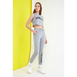 Trendyol Gray Printed Crop Knitted Bottom-Top Tool dámské Grey S