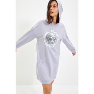 Trendyol Gray Printed Knitted Dress dámské Other XS