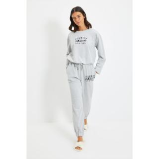 Trendyol Gray Printed Knitted Pajamas Set dámské Other XL