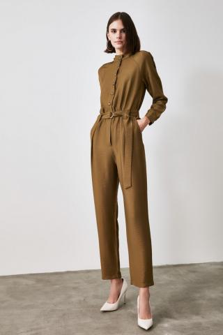 Trendyol Green Belt Button Jumpsuit dámské 34