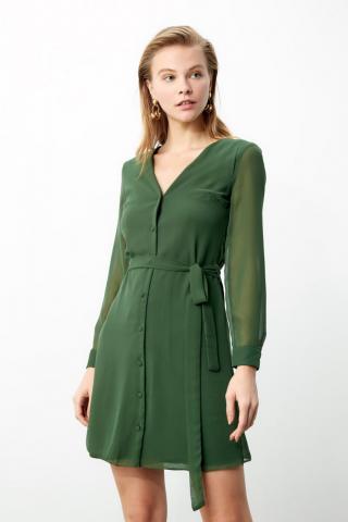 Trendyol Green Belt Dress dámské 34