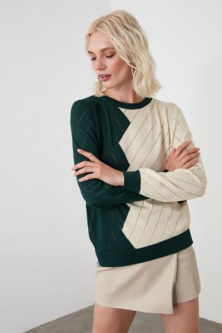 Trendyol Green Bicycle Collar Colorblock Knitwear Sweater dámské S