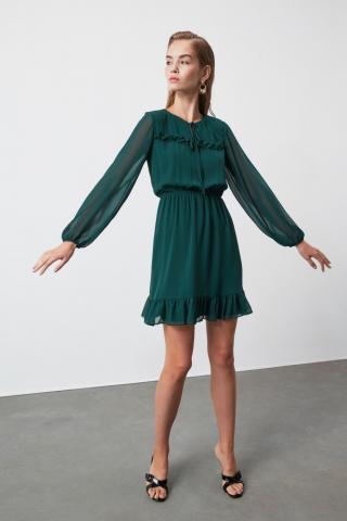 Trendyol Green Binding Detailed Dress dámské 34
