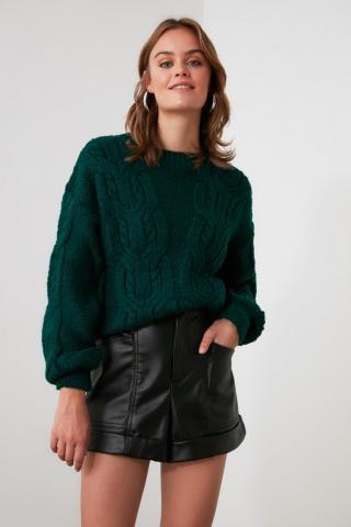 Trendyol Green Braided Knitwear Sweater dámské M