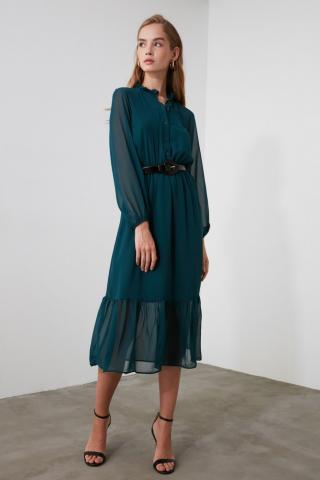 Trendyol Green Button Detailed Dress dámské 36