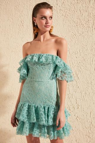 Trendyol Green Carmen Collar Lace Dress dámské 40