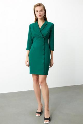 Trendyol Green Cruise Neck Jacket Dress dámské 34