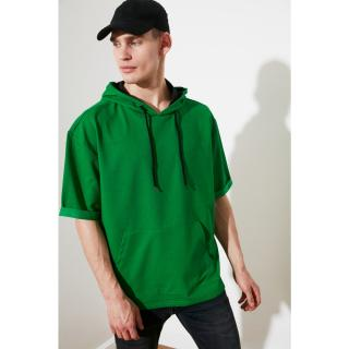 Trendyol Green Male Oversize Fit Hooded Short Sleeve Sweatshirt S