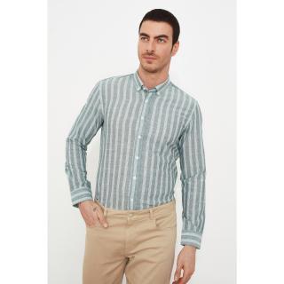 Trendyol Green Men Slim Fit Long Sleeve Epaulette ButtonEd Collar Shirt pánské S