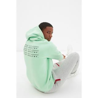 Trendyol Green Mens Regular Fit Hoodie Printed Sweatshirt pánské Other L