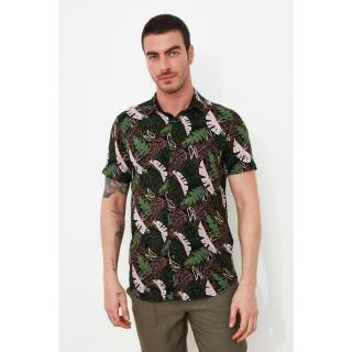 Trendyol Green Mens Regular Fit Shirt Collar Short Sleeve Shirt pánské S