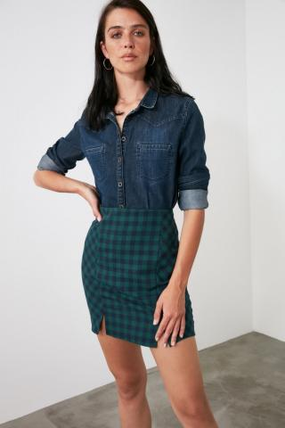 Trendyol Green Plaid Skirt dámské 38