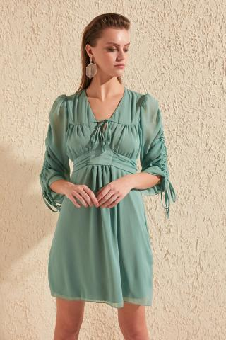 Trendyol Green Ruffle Detailed Dress dámské 34