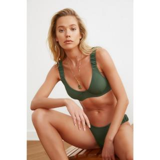 Trendyol Green Ruffles Detailed Bikini Top dámské 34