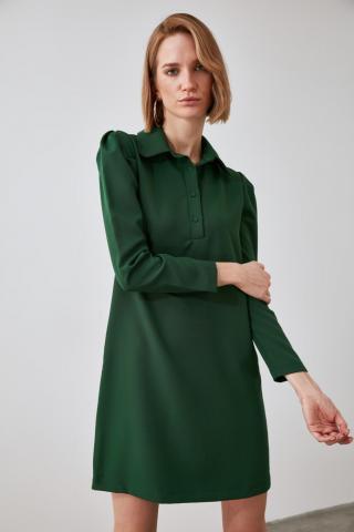 Trendyol Green Shirt Collar Dress dámské 34