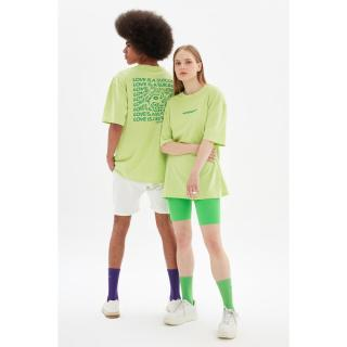 Trendyol Green Unisex Oversize T-Shirt dámské S