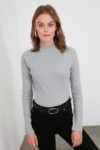 Trendyol Grey Back Detailed Knitted Blouse dámské M