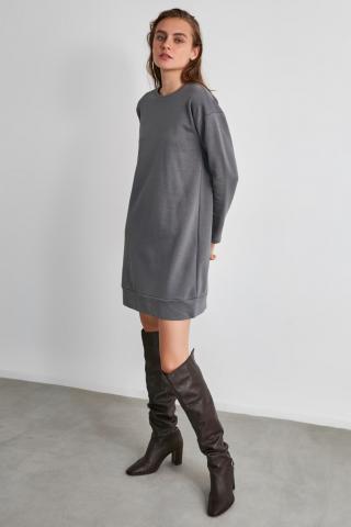 Trendyol Grey Back Printed Knitted Sweat Dress dámské XS