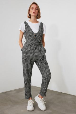 Trendyol Grey Belt Button Jumpsuit dámské 34