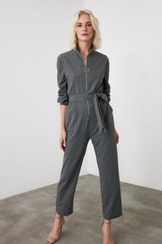 Trendyol Grey Belt Zipper Detailing Jumpsuit dámské 34