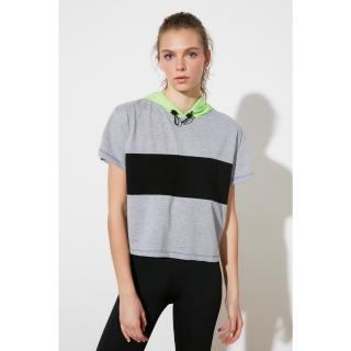 Trendyol Grey Block Hooded Sports T-Shirt dámské S