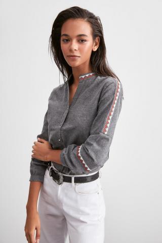 Trendyol Grey Collar Detailed Shirt dámské 38