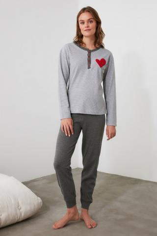 Trendyol Grey Embroidered Knitted Pajama Set dámské S