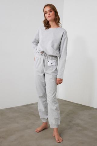 Trendyol Grey Embroidered Knitted Pajama Set dámské XS