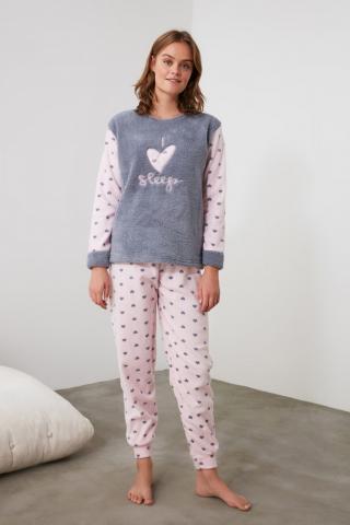 Trendyol Grey Embroidered Wellsoft Pajama Set dámské S