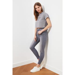 Trendyol Grey High Waist Skinny Jeans dámské 34