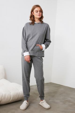 Trendyol Grey Hooded Knitted Pajama Set dámské S