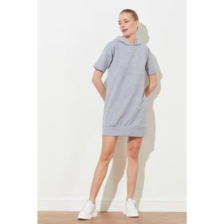 Trendyol Grey Hooded Sweat Knitted Dress dámské M