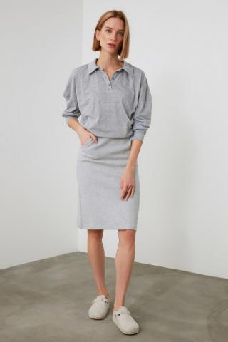 Trendyol Grey Knitted Pencil Skirt dámské XS