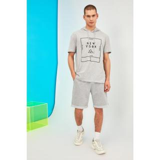 Trendyol Grey Male Regular Fit T-Shirt S