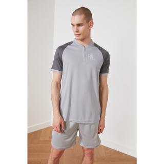 Trendyol Grey Mens Regular Fit Zip Short Sleeve T-Shirt pánské S