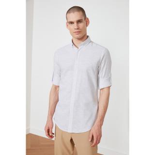 Trendyol Grey Mens Shirt Collar Slim Fit Epaulette Shirt pánské S