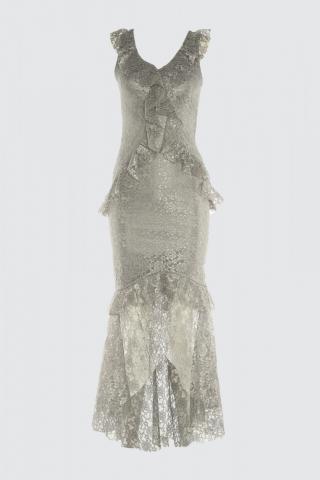 Trendyol Grey Volli Lace Dress dámské 34