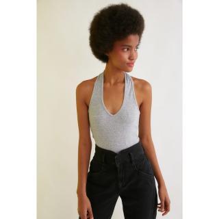 Trendyol Grey Wick Crop Knitted Blouse dámské M