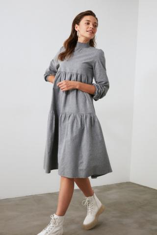 Trendyol Grey Wide Cut Dress dámské 34