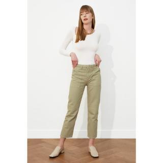 Trendyol Haki High Waist Straight Jeans dámské Khaki 3-4