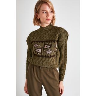 Trendyol Haki Jackar knitwear sweater dámské Khaki S