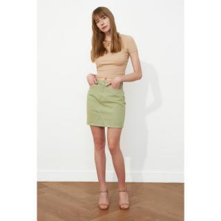 Trendyol Haki Piece Paint Denim Skirt dámské Khaki 34