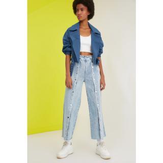 Trendyol High Waist Culotte Jeans dámské Navy 34