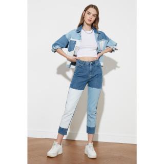 Trendyol High Waist Mom Jeans WITH Blue Color Block dámské Navy 36